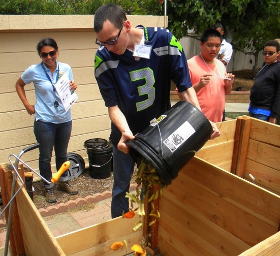 Adults with special needs learn to compost food scraps at TERI with help from Solana Center educators
