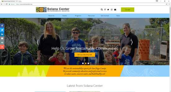 screenshot of solanacenter.org with picture of smiling kids and volunteers